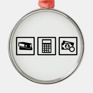 Buchhalter Rundes Silberfarbenes Ornament