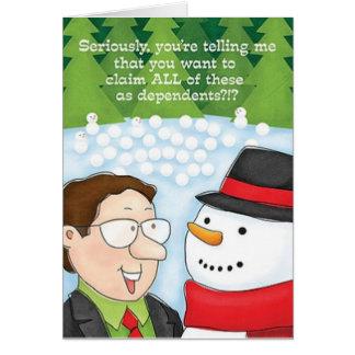 Buchhalter-Weihnachtskarten-Schneemann erklärt Karte