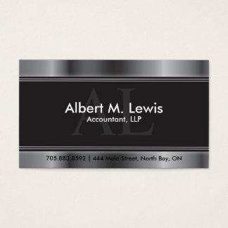 Buchhaltungs-Verabredungs-Karten-Silber-Monogramm Visitenkarten