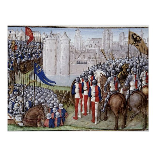 Buchmalerei Mittelalter Belagerung Poster