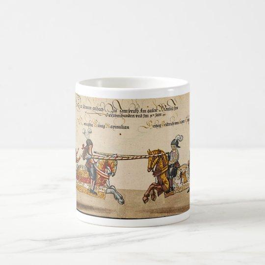 Buchmalerei Mittelalter Ritterduell Spätmittelalte Kaffeetasse