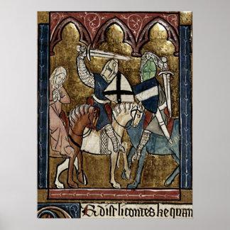 Buchmalerei Mittelalter Ritterschutz von Raubritte Poster