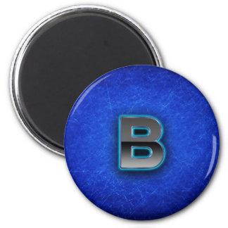Buchstabe B - blaue Neonausgabe Runder Magnet 5,1 Cm
