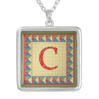 """Buchstabe C: """"Gewebe-Steppdecken-"""" Art-Initiale un Halskette Mit Quadratischem Anhänger"""