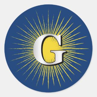 Buchstabe G - Freimaurersymbol Runder Aufkleber