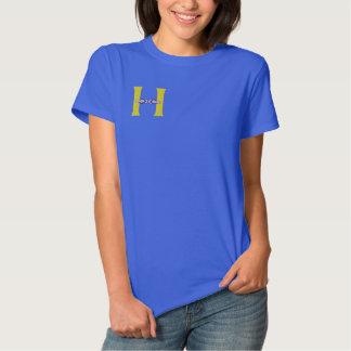 Buchstabe H drehen Reinfall-Monogramm gesticktes Besticktes T-Shirt