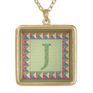 Buchstabe J Gewebe-Steppdecken- Art-Initiale un Selbst Gestaltete Halskette