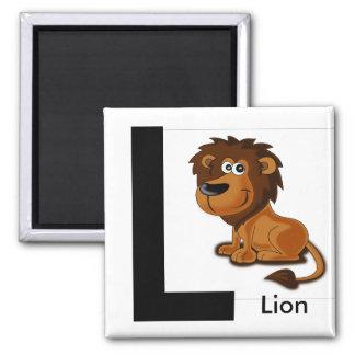 """""""Buchstabe L"""" für den Magneten der Löwe-Kinder Quadratischer Magnet"""