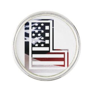 Buchstabe L Monogramm-Initiale patriotische Anstecknadel