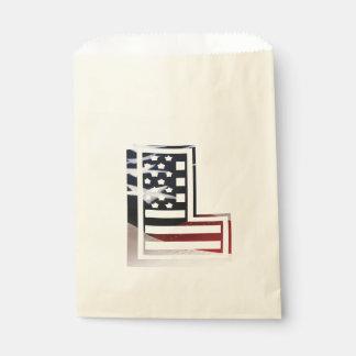 Buchstabe L Monogramm-Initiale patriotische Geschenktütchen