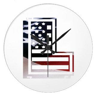Buchstabe L Monogramm-Initiale patriotische Große Wanduhr