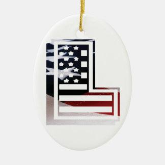 Buchstabe L Monogramm-Initiale patriotische Keramik Ornament
