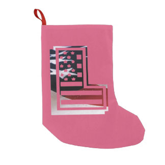 Buchstabe L Monogramm-Initiale patriotische Kleiner Weihnachtsstrumpf