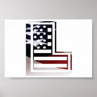 Buchstabe L Monogramm-Initiale patriotische Poster
