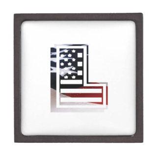 Buchstabe L Monogramm-Initiale patriotische Schachtel
