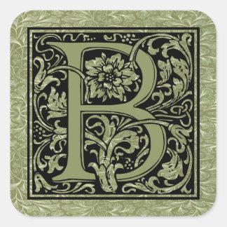 Buchstabe-Monogramm des Buchstabe-B erstes Quadratischer Aufkleber