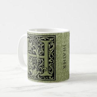 Buchstabe-Monogramm des Buchstabe-H erstes Kaffeetasse