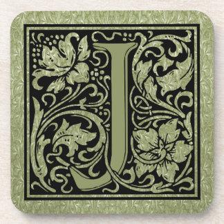 Buchstabe-Monogramm des Buchstabe-J erstes Getränkeuntersetzer