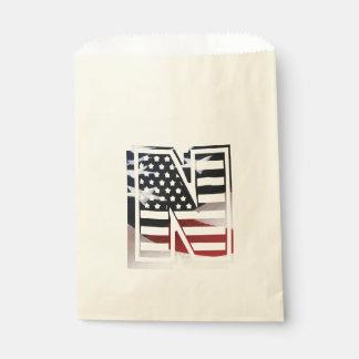 Buchstabe- Nmonogramm-Initiale patriotische Geschenktütchen