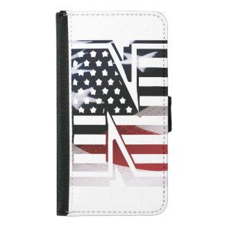 Buchstabe- Nmonogramm-Initiale patriotische Samsung Galaxy S5 Geldbeutel Hülle