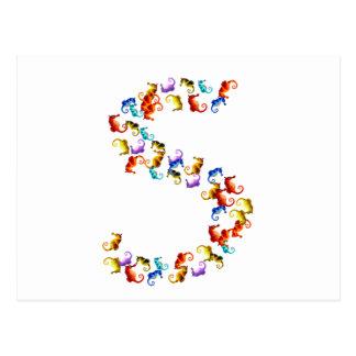 Buchstabe S gemacht aus bunten Seepferdgraphiken Postkarte