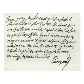 Buchstabe von George II zum Herzog von Newcastle Postkarte