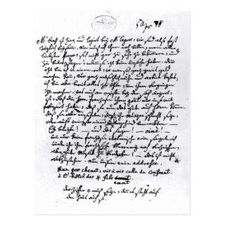 Buchstabe von Mozart zu seinem Vater, am 5. April Postkarte