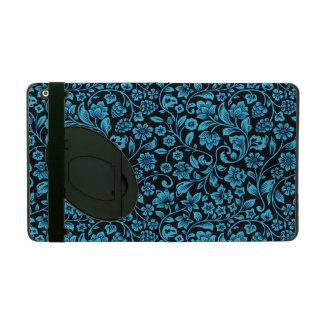 Bucht-blaues Glittery Blumen auf Schwarzem iPad Schutzhülle
