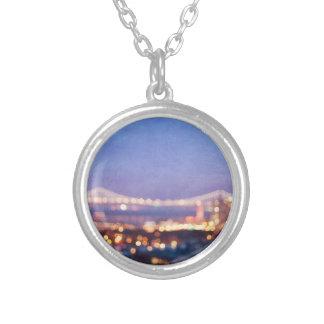 Bucht-Brücken-Glühen-San Francisco Foto-Halskette Versilberte Kette