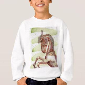 Bucht-Pferd auf grüner Aquarell-Serpentinenwäsche Sweatshirt