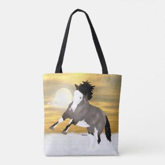 Bucht Roan Overo Pinto-Mustang-Pferd Tasche