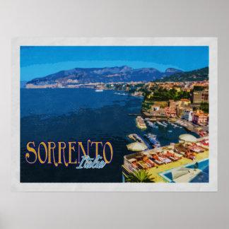 Bucht Sorrents Italien Vintager Reise Neapels Poster