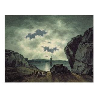 Bucht-Szene in Mondschein, 1787 (w/c über Postkarte