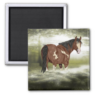 Bucht und Weiß-Spritzen Overo Farben-Pferd Quadratischer Magnet