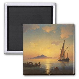 Bucht von Meerblick Neapels Iwan Aivazovsky waters Quadratischer Magnet