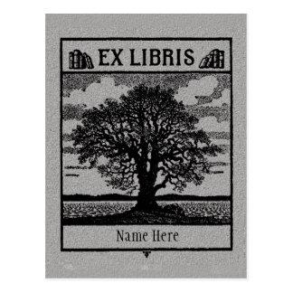 Buchzeichen ex Libris Baum auf dem Gebiet Postkarte