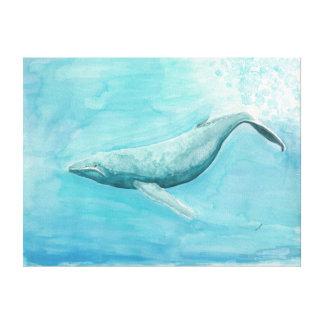Buckel-Wal - Watercolor-Druck auf Leinwand