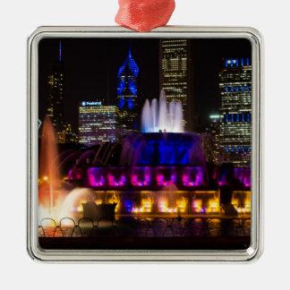 Buckingham Brunnen Chicago Silbernes Ornament
