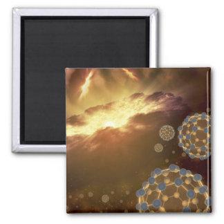 Buckyballs, das in interstellaren Raum schwimmt Quadratischer Magnet