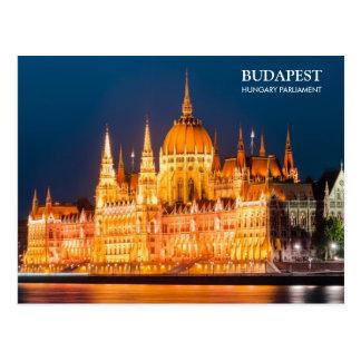 Budapest-Parlament in der Nachtpostkarte Postkarte