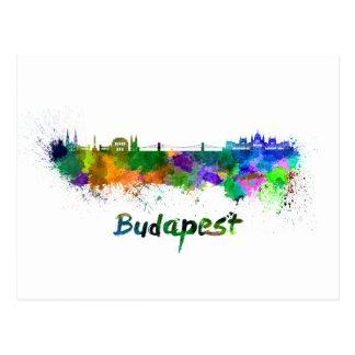 Budapest skyline im Watercolor Postkarte