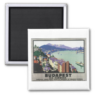 Budapest über Harwich Vintages Reise-Plakat Quadratischer Magnet