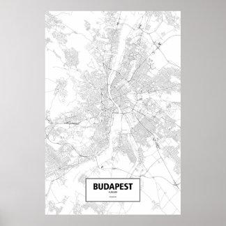Budapest, Ungarn (Schwarzes auf Weiß) Poster