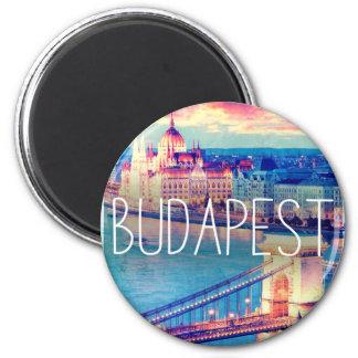 Budapest, vintage, Plakat Runder Magnet 5,7 Cm
