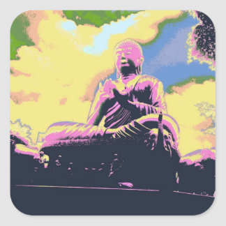 Buddha-Aufkleber Quadratischer Aufkleber