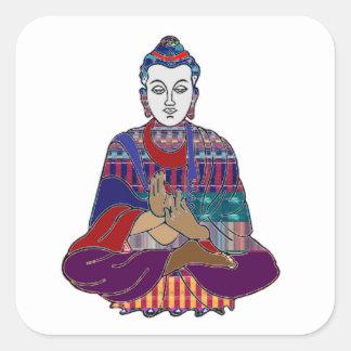 Buddha-Buddhismusreligionsfriedensanbetungsheilen Quadratischer Aufkleber