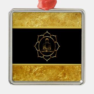 Buddha, der geistige Folie der Yogameditation Silbernes Ornament