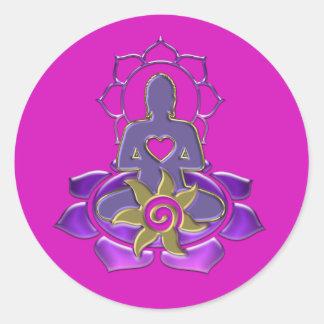 BUDDHA energy | magenta Runder Aufkleber