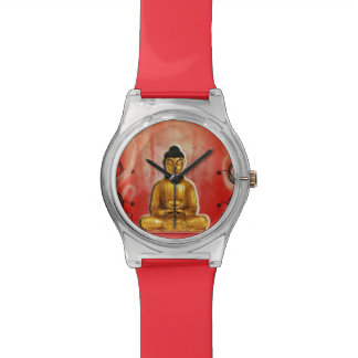 Buddha-Gold mit Rot Uhren
