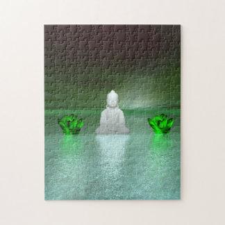 Buddha-Grün und Wasserliliengrün Puzzle